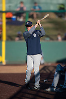 Tri-City Dust Devils pitcher Spencer Kulman (28) pretends to golf during a Northwest League game against the Everett AquaSox at Everett Memorial Stadium on September 3, 2018 in Everett, Washington. The Everett AquaSox defeated the Tri-City Dust Devils by a score of 8-3. (Zachary Lucy/Four Seam Images)