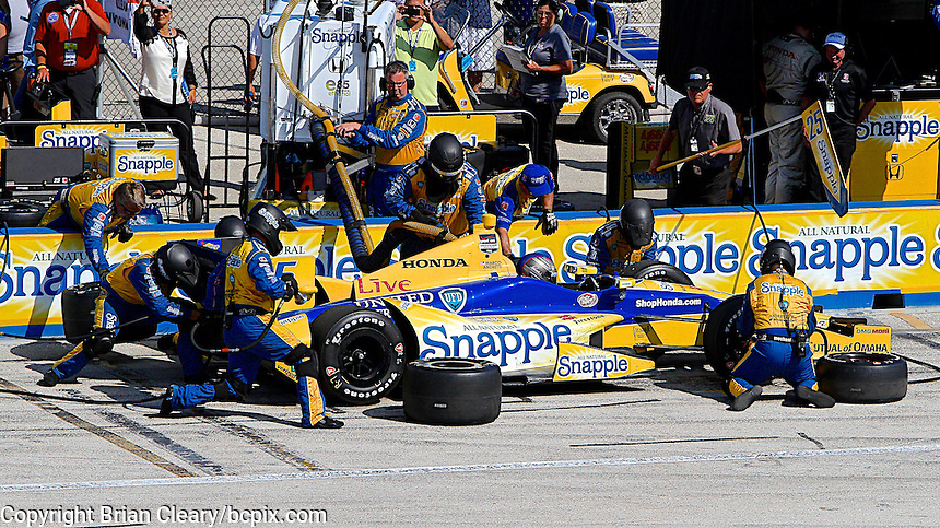 Marco Andretti pit stop, Milwaukee Indy Fest 250, Milwaukee Mile Speedway, Milwaukee, WI, August 2014.  (Photo by Brian Cleary/www.bcpix.com)