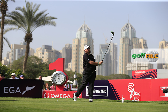 Shane Lowry (IRL) on the 1st tee during Round 4 of the Omega Dubai Desert Classic, Emirates Golf Club, Dubai,  United Arab Emirates. 27/01/2019<br /> Picture: Golffile | Thos Caffrey<br /> <br /> <br /> All photo usage must carry mandatory copyright credit (&copy; Golffile | Thos Caffrey)