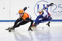 SHORT TRACK: TORINO: 14-01-2017, Palavela, ISU European Short Track Speed Skating Championships, Quarterfinals 500m Men, Sjinkie Knegt (NED), Alexander Shulginov (RUS), ©photo Martin de Jong