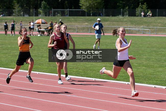 U14G 100m final. TSS Athletics Championships 2012, 10 Mar 2012,  Saxton Athletic Stadium, Nelson, New Zealand<br /> Photo: Marc Palmano/shuttersport.co.nz