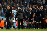Manchester City's Pep Guardiola argues with referee Antonio Mateu Lahoz at half time during the Champions League Quarter Final 2nd Leg match at the Etihad Stadium, Manchester. Picture date: 10th April 2018. Picture credit should read: David Klein/Sportimage