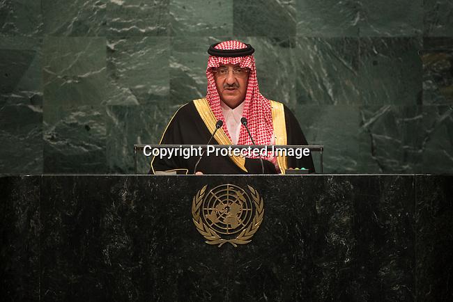 Address by Saudi Arabia<br /> H.H. Prince Mohammed bin Naif bin Abdulaziz Al-Saud<br /> Crown Prince<br /> <br /> General Assembly Seventy-first session 10th plenary meeting<br /> General Debate