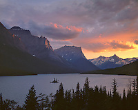 Sunset light on Wild Goose Island and St. Mary Lake; Glacier National Park, MT