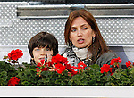Spanish Model Nieves Alvarez and her son during Tennis Madrid Open match, May 5,2010..(ALFAQUI/Alex Cid-Fuentes)