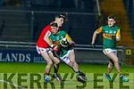 Ruaidhri Ó Beaglaoich battles with Corks Colm O'Shea during the Eirgrid U20 Munster Final in Tralee last Wednesday night, March 4.