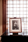 Tokyo, June 28 2013 - Portraits of Soetsu Yaagi and her wife Kaneko in the West Hall of Japan Folk Crafts Museum, former house of Japanese designer Soetsu Yanagi.
