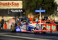 Nov 11, 2010; Pomona, CA, USA; NHRA top fuel dragster driver Antron Brown during qualifying for the Auto Club Finals at Auto Club Raceway at Pomona. Mandatory Credit: Mark J. Rebilas-