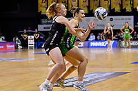 Pulse&rsquo; Claire Kersten and Magic&rsquo;s Samantha Sinclair in action during the ANZ Premiership - Pulse v Magic at TSB Bank Arena, Wellington, New Zealand on Sunday 21 April 2019. <br /> Photo by Masanori Udagawa. <br /> www.photowellington.photoshelter.com