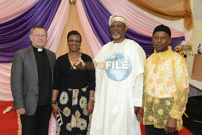 At the tenth anniversary celebrations of the Drogheda Erzinwanne Association were (from left) Father Laurence Caraher, Tina  Alabi, Georges Alabi Deputy Head of Missin at the Nigerian Embassy and Ignatius Chukwurah. Photo: Andy Spearman.