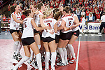 MADISON, WI - OCTOBER 27: The Wisconsin Badgers volleyball team celebrates a victory against the Penn State Nittany Lions on October 27, 2006 in Madison, Wisconsin. (Photo by David Stluka)