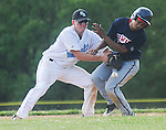 The Gazette Bowie High School's Mike McDonald (right) collides with Eleanor Roosevelt's second baseman Luke Seppi (left) knocking the ball loose out of Seppi's grasp during the two team's 4A South Region final held at Eleanor Roosevelt High School in Greenbelt on Friday afternoon. Roosevelt won the game 14-9.