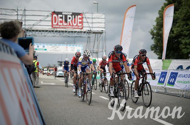 teammates Greg Van Avermaet (BEL/BMC) & Philippe Gilbert (BEL/BMC) chasing after the race leaders <br /> <br /> Belgian National Road Cycling Championships 2016<br /> Les Lacs de l'Eau d'Heure