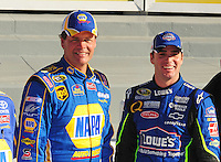 Feb 10, 2008; Daytona Beach, FL, USA; Nascar Sprint Cup Series driver Jimmie Johnson (right) stands alongside second place qualifier Michael Waltrip after winning the pole position during qualifying for the Daytona 500 at Daytona International Speedway. Mandatory Credit: Mark J. Rebilas-US PRESSWIRE