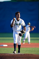 Hillsboro Hops starting pitcher Luis Frias (19) before a Northwest League game against the Salem-Keizer Volcanoes at Ron Tonkin Field on September 1, 2018 in Hillsboro, Oregon. The Salem-Keizer Volcanoes defeated the Hillsboro Hops by a score of 3-1. (Zachary Lucy/Four Seam Images)