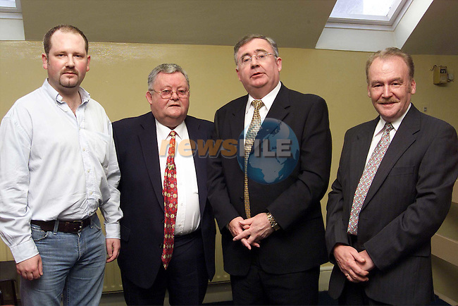 Gerald Nash, Michael Bell and Tommy Moore with Pat Rabbitt at the Labour Party meeting in Connolly Hall..Picture: Paul Mohan/Newsfile