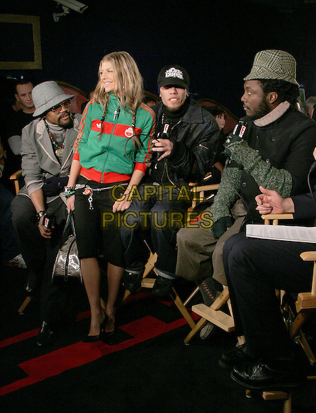 BLACK EYED PEAS - TABOO, FERGIE, WILL.I.AM & APL.DE.AP.The 47th Annual Grammy Award Nominees Announcements. The announcements were held at The Music Box in Hollywood, California .December 7th, 2004.full length, green zip up top, cardigan, hats.www.capitalpictures.com.sales@capitalpictures.com.Supplied By Capital PIctures