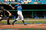 June 30, 2009 -- Omaha Royals left fielder Scott Thorman, from Cambridge, Ontario, hits a single against the Albuquerque Isotopes in a minor league professional baseball game on Tuesday June 30, 2009 in Omaha, Nebraska. PHOTO/Daniel Johnson