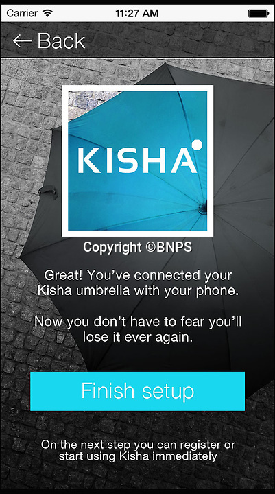 BNPS.co.uk (01202 558833)<br /> Pic: Kisha/BNPS<br /> <br /> An app connects the umbrella to your smart phone, giving location and precipitation.<br /> <br /> The world's first smart umbrella that is being heralded as the last one you will ever need to buy has been invented.<br /> <br /> The Kisha umbrella uses innovative technology which means the brolly can never get lost as it tells the owner when and where they last had it.<br />  <br /> It is also made from a robust material that can withstand 120mph winds - stronger than a hurricane - without breaking, eradicating the throw-away nature of broken brollies.
