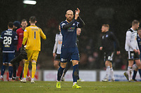 7th March 2020; Somerset Park, Ayr, South Ayrshire, Scotland; Scottish Championship Football, Ayr United versus Dundee FC; Jordon Forster of Dundee applauds the fans at the end of the match