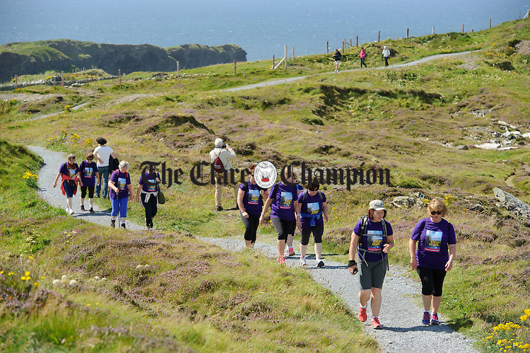Walkers make their way along the route during the Weightwatchers/Clare Champion Liscannor to Cliffs of Moher coastal walk. Photograph by John Kelly.