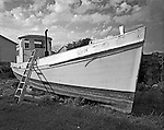 "The NANCY ELLEN, formerly named PAULINE, was built by Ambrose Fulcher, of Atlantic, in 1927 for Irwin Morris, also from Atlantic. She was constructed as a haul boat for the long-haul fishing trade and named for Morris's niece. In the 1950s Morris sold her to fisherman Charles Smith, who renamed the vessel the Nancy Ellen after his two daughters. In 1979 John ""Buster"" Salter bought the NANCY ELLEN for use in his long-haul fishing operation. In 2005 he sold it to David Smith, the son of Charles Smith who is renovating her as a pleasure boat. As evident in the photograph, a ""waist"" was added to elevate the boat's sides."