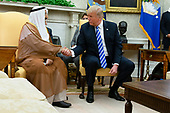 United States President Donald J. Trump shakes hands with the Emir of Kuwait Jaber Al-Ahmad Al-Sabah during a meeting in the Oval Office of the White House on September 5, 2018 in Washington, DC. Credit: Alex Edelman / Pool via CNP