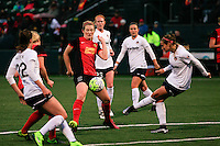 Rochester, NY - Friday April 29, 2016: Western New York Flash midfielder Samantha Mewis (5) and Washington Spirit defender Shelina Zardorsky (6). The Washington Spirit defeated the Western New York Flash 3-0 during a National Women's Soccer League (NWSL) match at Sahlen's Stadium.