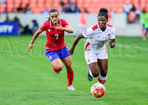 19.02.2016. Houston, TX, USA.Canada Forward Deanne Rose Scarborough (6) gets past Costa Rica Forward Melissa Herrera (7) during the Women's Olympic qualifying soccer match between Canada and Costa Rica at BBVA Compass Stadium in Houston, Texas.