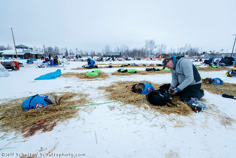 Mats Pettersson at the Huslia checkpoint during the 2017 Iditarod on Saturday morning March 11, 2017.<br /> <br /> Photo by Jeff Schultz/SchultzPhoto.com  (C) 2017  ALL RIGHTS RESERVED