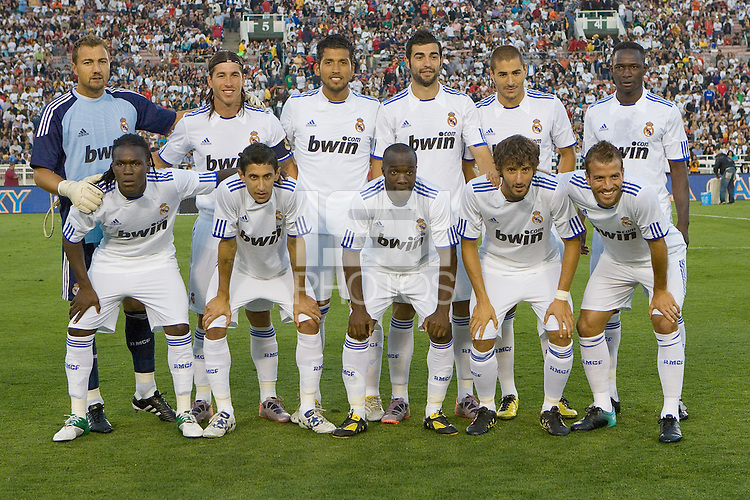 Real Madrid starting eleven minus Cristiano Ronaldo. Real Madrid beat the LA Galaxy 3-2 in an international friendly match at the Rose Bowl in Pasadena, California on Saturday evening August 7, 2010.