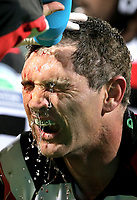 Stephen Donald has a cut cleaned during the Mitre 10 Cup Premiership and Ranfurly Shield match between Canterbury and Counties Manukau at AMI Stadium in Christchurch, New Zealand on Wednesday, 13 September 2017. Photo: Martin Hunter / lintottphoto.co.nz