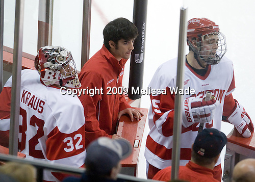 Adam Kraus (BU - 32), Patrick Walsh (BU - Team Manager), Colby Cohen (BU - 25) - The University of Notre Dame Fighting Irish defeated the Boston University Terriers 3-0 on Tuesday, October 20, 2009, at Agganis Arena in Boston, Massachusetts.