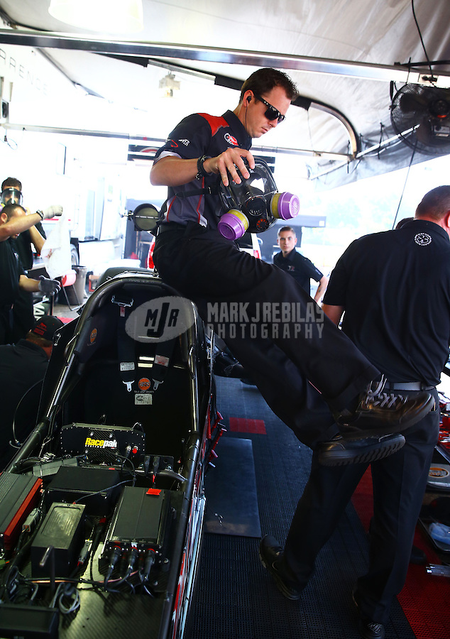 Jun. 2, 2013; Englishtown, NJ, USA: NHRA top fuel dragster driver Steve Torrence during the Summer Nationals at Raceway Park. Mandatory Credit: Mark J. Rebilas-