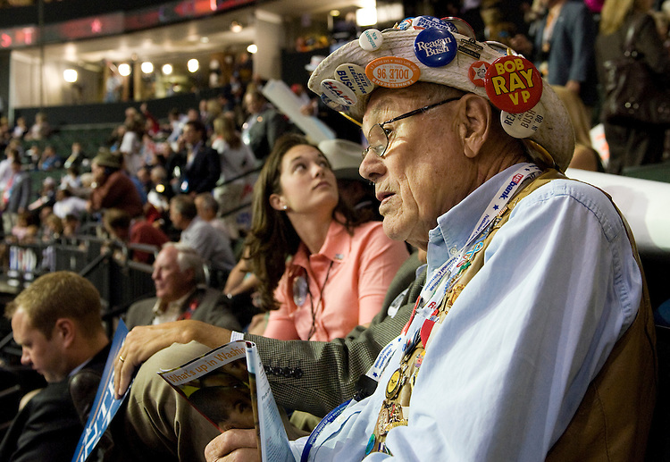 Gordon Pederson enjoys his ninth national convention at the Xcel Energy Center during the Republican National Convention in St. Paul. September 2, 2008.