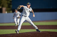 Michigan Wolverines pitcher Walker Cleveland (35) delivers a pitch to the plate during the NCAA baseball game against the Eastern Michigan Eagles on May 8, 2019 at Ray Fisher Stadium in Ann Arbor, Michigan. Michigan defeated Eastern Michigan 10-1. (Andrew Woolley/Four Seam Images)