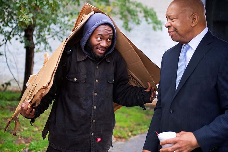 Rep. Elijah Cummings, D-Md., talks with a constituent in between events in Baltimore, Md., October 22, 2014.