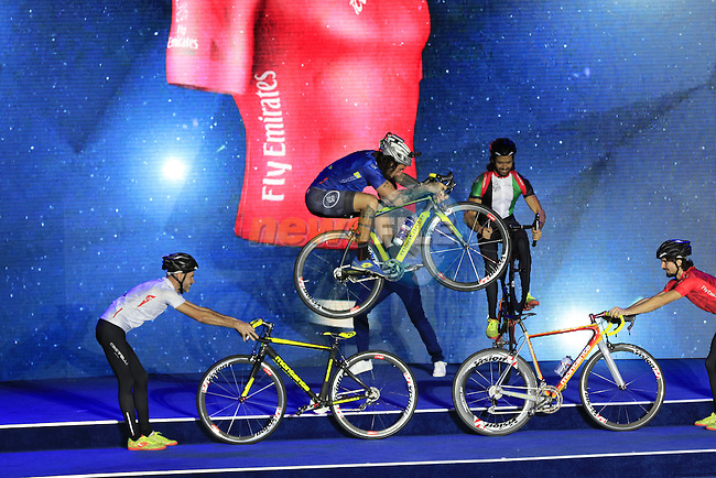 Biketrial World Champion Vittorio Brumotti entertains at the opening ceremony of the 2016 Dubai Tour held at the Westin Hotel Amphitheatre, Mina Seyahi, Dubai, United Arab Emirates. 2nd February 2016.<br /> Picture: Eoin Clarke | Newsfile<br /> <br /> <br /> All photos usage must carry mandatory copyright credit (&copy; Newsfile | Eoin Clarke)
