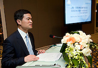 Shanghai Office of Financial Services Director-General Fang Xinghai speaks at the signature ceremony of a Memorandum of Understanding between Paris Europlace and Shanghai Financial Services, at Shanghai / Paris Europlace Financial Forum, in Shanghai, China, on December 1, 2010. Photo by Lucas Schifres/Pictobank