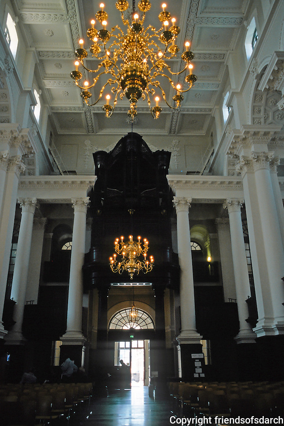 Nicholas Hawksmoor: Christ Church, Spitafields. Looking west to door. Organ out for restoration. Photo '05.