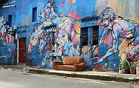 Street art in Santa Barbara, created in 2015 for the Hoy Santa Barbara Street Art Festival, in Santa Barbara, Santo Domingo, capital of the Dominican Republic, in the Caribbean. Santa Barbara was originally the place where slaves were brought in and out of Santo Domingo, and is now a residential district away from the tourist centre. Picture by Manuel Cohen