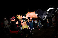 Lucha Libre fighters perform for a mixed crowd at the National Western Stock Show complex in Denver, Colo.  The theatrical fighting is similar to WWF/WWE-styled professional wrestling, though many of the matches carry a story arc with a moral lesson or resulting in good triumphing over evil.  This particular show featured local wrestlers as well as bigger name stars from the Los Angeles circuit.