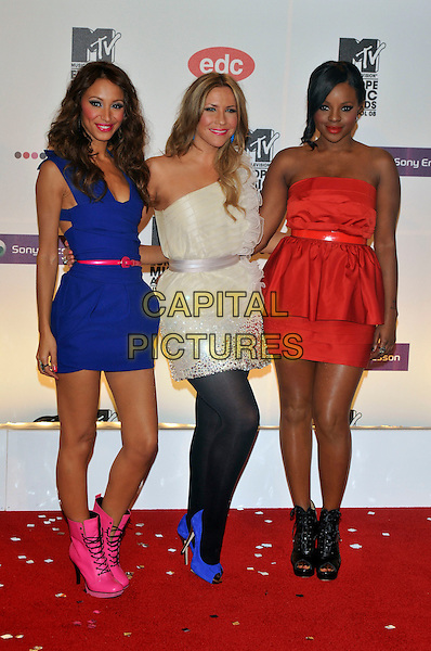 SUGABABES - AMELLE BERRABAH, HEIDI RANGE & KEISHA BUCHANAN.2008 MTV Europe Music Awards arrivals at Echo Arena, Liverpool, England..6th November 2008.EMA full length blue purple sleeveless white one shoulder red strapkess dress boots tights black .CAP/PL.©Phil Loftus/Capital Pictures.