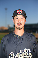 Yuhei Nakaushiro (34) of the Visalia Rawhide poses for a photo before a game against the Lancaster JetHawks at The Hanger on July 6, 2016 in Lancaster, California. Lancaster defeated Visalia, 10-7. (Larry Goren/Four Seam Images)