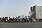 The peloton during Stage 2 of the 2019 UAE Tour, running 184km form Yas Island Yas Mall to Abu Dhabi Breakwater Big Flag, Abu Dhabi, United Arab Emirates. 25th February 2019.<br /> Picture: LaPresse/Fabio Ferrari | Cyclefile<br /> <br /> <br /> All photos usage must carry mandatory copyright credit (© Cyclefile | LaPresse/Fabio Ferrari)