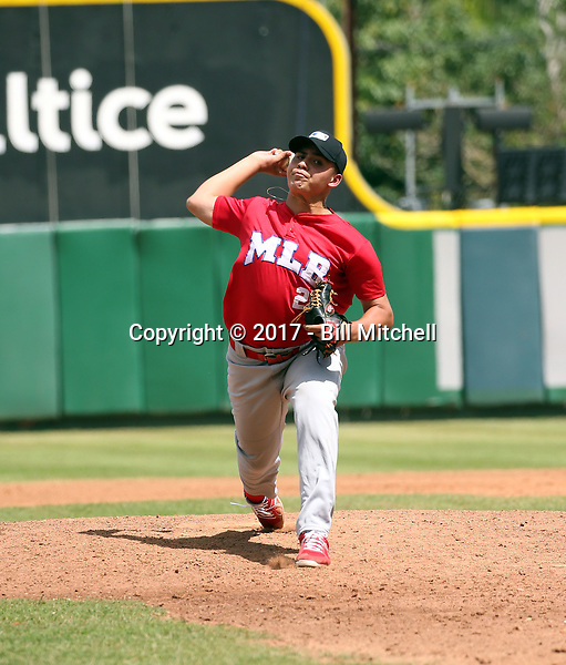 Arthur Sabino participates in the MLB International Showcase at Estadio Quisqeya on February 22-23, 2017 in Santo Domingo, Dominican Republic.