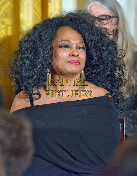 Singer Diana Ross looks on as United States President Barack Obama makes remarks at a ceremony in the East Room of the White House in Washington, DC where he is to present the Presidential Medal of Freedom, the Nation&iacute;s highest civilian honor, on Tuesday, November 22, 2016.<br /> CAP/MPI/RS<br /> &copy;RS/MPI/Capital Pictures