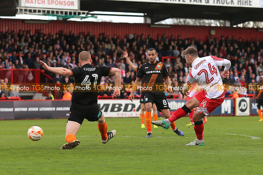 Matthew Godden of Stevenage finds the net but his effort is disallowed during Stevenage vs Barnet, Sky Bet EFL League 2 Football at the Lamex Stadium on 1st April 2017