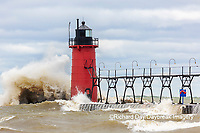 64795-02303 South Haven Lighthouse with high waves crashing South Haven,  MI