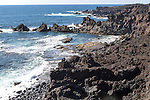 Rocky coastline near Los Hervideros, Lanzarote, Canary Islands, Spain